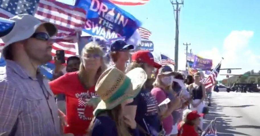 Trump supporters show up in West Palm Beach, Florida, on Monday, to show how much they appreciate the former president and to celebrate his acquittal.