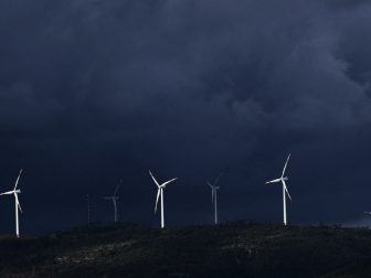 Wind turbines in a thunderstorm