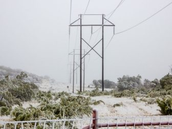 Ice covered Power Transmission Lines in Texas