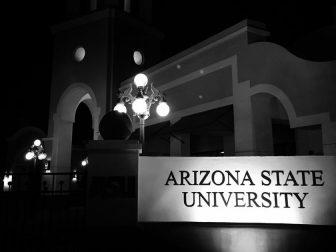 The Arizona State University (ASU) Downtown Campus in Phoenix at night.
