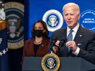 """President Joe Biden, joined by Vice President Kamala Harris, delivers remarks on his """"Buy American"""" initiative Monday, Jan. 25, 2021, in the South Court Auditorium of the Eisenhower Executive Office Building at the White House. (Official White House Photo by Adam Schultz)"""