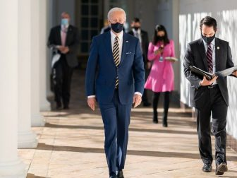 President Joe Biden walks with his personal aide Stephen Goepfert along the Colonnade Friday, Jan. 22, 2021, to a briefing on the economy in the State Dining Room of the White House. (Official White House Photo by Adam Schultz)