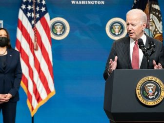 President Joe Biden, joined by Vice President Kamala Harris, delivers remarks on the Administration's response to the military coup in Burma Wednesday, Feb. 10, 2021, in the South Court Auditorium in the Eisenhower Executive Office Building of the White House. (Official White House Photo by Adam Schultz)