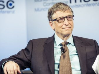 This Image is of Bill Gates. He was attending meeting on charity