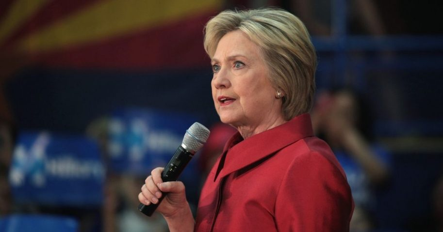 Former Secretary of State Hillary Clinton speaking with supporters at a campaign rally at Carl Hayden High School in Phoenix, Arizona.