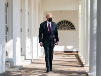 President Joe Biden walks along the Colonnade of the White House Tuesday, Feb. 23, 2021, to the Oval Office. (Official White House Photo by Adam Schultz)