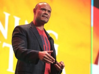 Dan Bongino speaking with attendees at the 2020 Student Action Summit hosted by Turning Point USA at the Palm Beach County Convention Center in West Palm Beach, Florida.