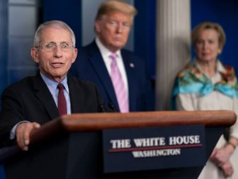 President Donald J. Trump listens as Dr. Anthony S. Fauci, Director of the National Institute of Allergy and Infectious Diseases, and a member of the White House Coronavirus Task Force delivers remarks at a coronavirus (COVID-19) update briefing Saturday, April 4, 202020, in the James S. Brady Press Briefing Room of the White House. (Official White House Photo by Andrea Hanks)