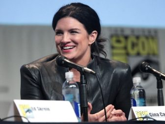 """Gina Carano speaking at the 2015 San Diego Comic Con International, for """"Deadpool"""", at the San Diego Convention Center in San Diego, California."""