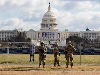 U.S. Army Soldiers with the National Guard secure an area near the U.S. Capitol in Washington, D.C., Jan. 20, 2021. National Guard Soldiers and Airmen from several states have traveled to Washington to provide support to federal and district authorities leading up to the 59th Presidential Inauguration. (U.S. Air National Guard photo by Master Sgt. Matt Hecht)