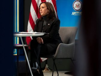 Vice President Kamala Harris participates in a virtual roundtable with women's leadership groups on the American Rescue Plan, Thursday, Feb. 18, 2021, in the South Court Auditorium in the Eisenhower Executive Office Building at the White House. (Official White House Photo by Lawrence Jackson)