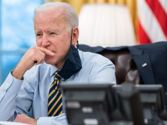 President Joe Biden participates in a conference phone call with governors affected by a snowstorm in the Midwest and southwest Tuesday, Feb. 16, 2021, in the Oval Office of the White House. (Official White House Photo by Lawrence Jackson)