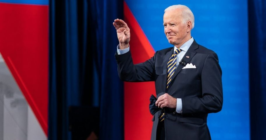 President Joe Biden waves to the guests during a CNN Town Hall with Anderson Cooper Monday, Feb. 16, 2021, at the Pabst Theater in Milwaukee, Wisconsin. (Official White House Photo by Adam Schultz)