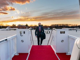 President Joe Biden boards Air Force One at Joint Base Andrews, Maryland Friday, Feb. 5, 2021, en route to New Castle County Airport in New Castle, Delaware. (Official White House Photo by Adam Schultz)