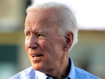 Former Vice President of the United States Joe Biden at the Fourth of July Iowa Cubs game at Principal Park in Des Moines, Iowa.
