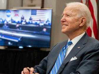 President Joe Biden participates in a virtual call with the NASA Mars 2020 Perseverance Mission team members Thursday, March 4, 2021, in the Roosevelt Room of the White House. (Official White House Photo by Adam Schultz)