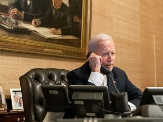 President Joe Biden talks on the phone with Texas Gov. Greg Abbott in regards to the winter storms that impacted Texas Thursday, Feb. 18, 2021, in the Treaty Room in the Residence of the White House. (Official White House Photo by Adam Schultz)
