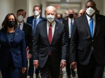 President Joe Biden and Vice President Kamala Harris, joined by Secretary of Defense Lloyd Austin, tour the Pentagon Wednesday, Feb. 10. 2021, in Arlington, Virginia. (Official White House Photo by Adam Schultz)