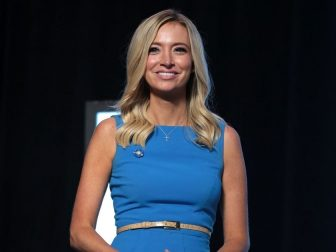 """Press Secretary Kayleigh McEnany at """"An Address to Young Americans"""" event, featuring President Donald Trump, hosted by Students for Trump and Turning Point Action at Dream City Church in Phoenix, Arizona."""