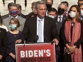 House Minority Leader Kevin McCarthy argued Thursday the current migrant crisis at the U.S.-Mexican border is of President Joe Biden's making.