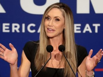 """Lara Trump speaking with supporters at a """"Make America Great Again"""" campaign rally at the Scottsdale Plaza Resort in Paradise Valley, Arizona."""