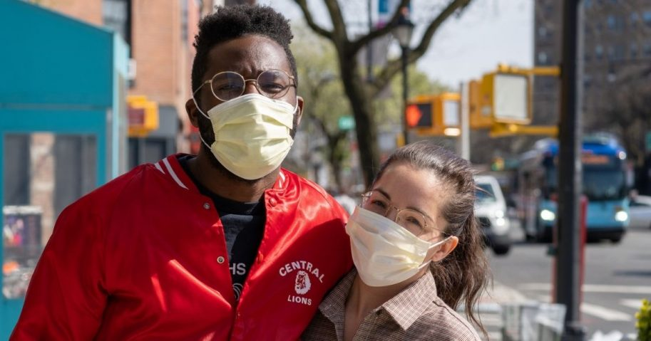 A couple enjoying the sunshine during New York City's #Coronavirus Quarantine, found walking up Flatbush Avenue in Brooklyn.