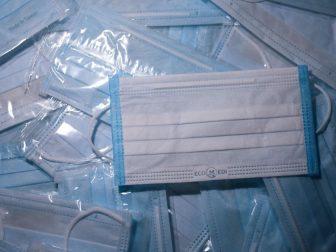 Blue disposable medical masks