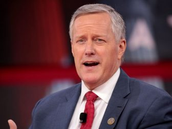 U.S. Congressman Mark Meadows speaking at the 2018 Conservative Political Action Conference (CPAC) in National Harbor, Maryland.
