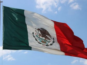 Mexican flag flying in the wind