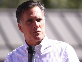 Mitt Romney speaking to supporters at a rally in Tempe, Arizona.