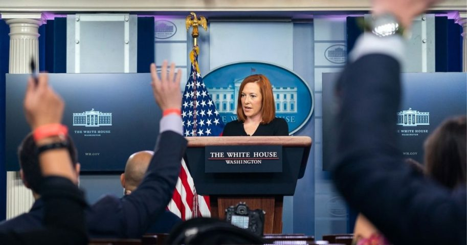 Press Secretary Jen Psaki takes questions from reporters during a press briefing Monday, Feb. 1, 2021, in the James S. Brady Press Briefing Room of the White House. (Official White House Photo by Chandler West)