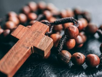 Rosary sitting on a table