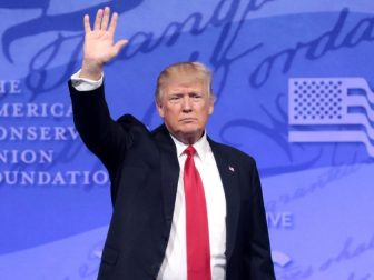 President Trump waves at CPAC