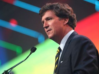 Tucker Carlson speaking with attendees at the 2020 Student Action Summit hosted by Turning Point USA at the Palm Beach County Convention Center in West Palm Beach, Florida.