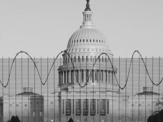 Security fencing surround the US Capitol