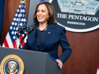 Vice President Kamala Harris delivers remarks during a press conference Wednesday, Feb. 10, 2021, at the Pentagon in Arlington, Virginia. (Official White House Photo by Adam Schultz)