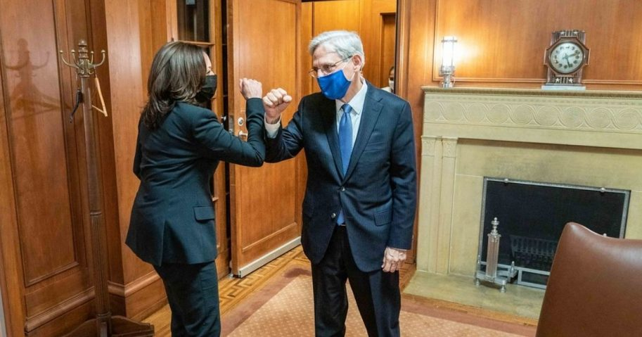 Vice President Kamala Harris fist bumps Merrick Garland at the U.S. Department of Justice in Washington, D.C. Thursday, March 11, 2021, prior to Mr. Garland's swearing-in ceremony as U.S. Attorney General. (Official White House Photo by Lawrence Jackson)
