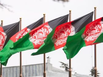 The Afghan Flag waves above the presidential palace during a meeting between Marine Corps Gen. Joe Dunford, chairman of the Joint Chiefs of Staff, Afghan President Ashraf Ghani, Chief Executive Abdullah Abdullah, and various other Afghan senior government and military leaders in Kabul, March 20, 2018. The senior leaders discussed the current security environment in Afghanistan, the progress of the Afghan National Defense and Security Forces, and the re-posturing of U.S. forces as part of the new South Asia strategy. (DoD Photo by Navy Petty Officer 1st Class Dominique A. Pineiro)