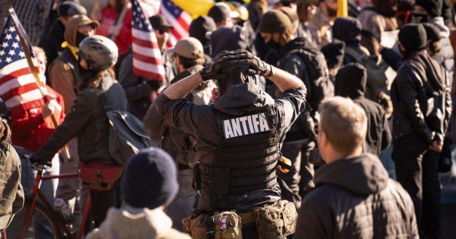Antifa at rally