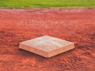 Baseball base on a field