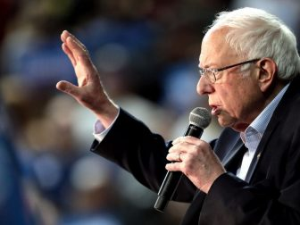 U.S. Senator Bernie Sanders speaking with supporters at a campaign rally at Arizona Veterans Memorial Coliseum in Phoenix, Arizona.