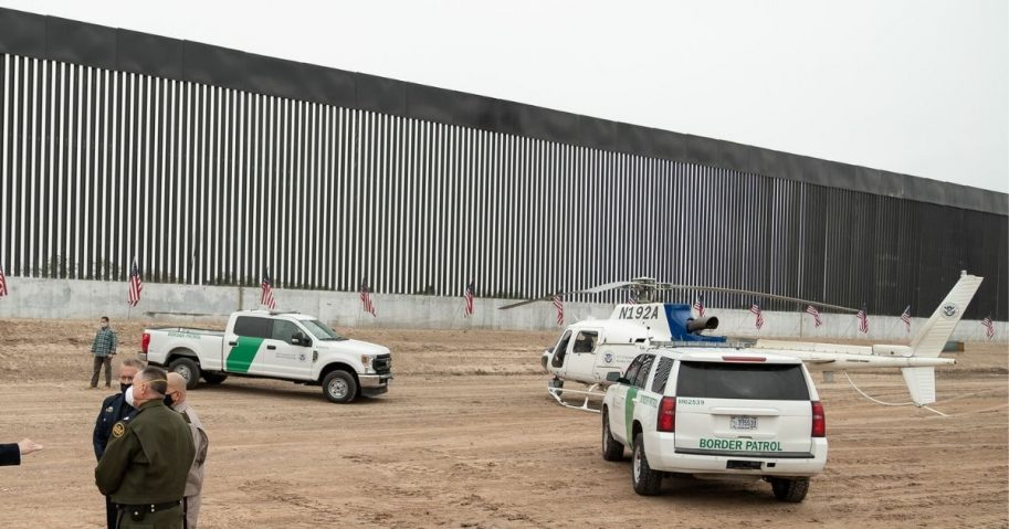 President Donald J. Trump, joined by U.S. Border Patrol officials, visits a border wall site Tuesday, Jan. 12, 2021, at the Texas-Mexico border near Alamo, Texas (Official White House Photo by Shealah Craighead)