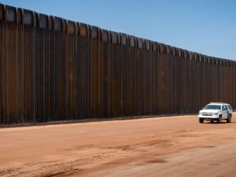 Recently constructed panels at the new border wall system project near Naco, Arizona on August 12, 2020. (U.S. Customs and Border Protection photo by Jerry Glaser)