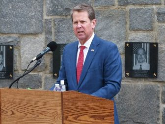 Brian Kemp, the Governor of Georgia, speaks during a virtual Memorial Day ceremony at Clay National Guard Center in Marietta, Georgia on May 21, 2020. Governor Kemp spoke of the ultimate sacrifice that fallen Georgia Guardsmen have made while fighting for the freedoms all Americans possess today.