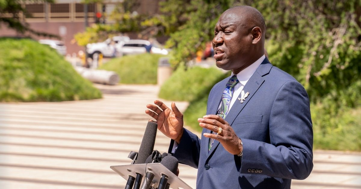 Attorney Ben Crump speaks outside the Federal Courthouse in Downtown Minneapolis on July 15th, 2020. He was announcing his filing of a lawsuit on behalf of the George Floyd family against the City of Minneapolis.
