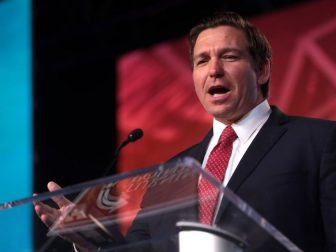 Governor-elect Ron DeSantis speaking with attendees at the 2018 Student Action Summit hosted by Turning Point USA at the Palm Beach County Convention Center in West Palm Beach, Florida.