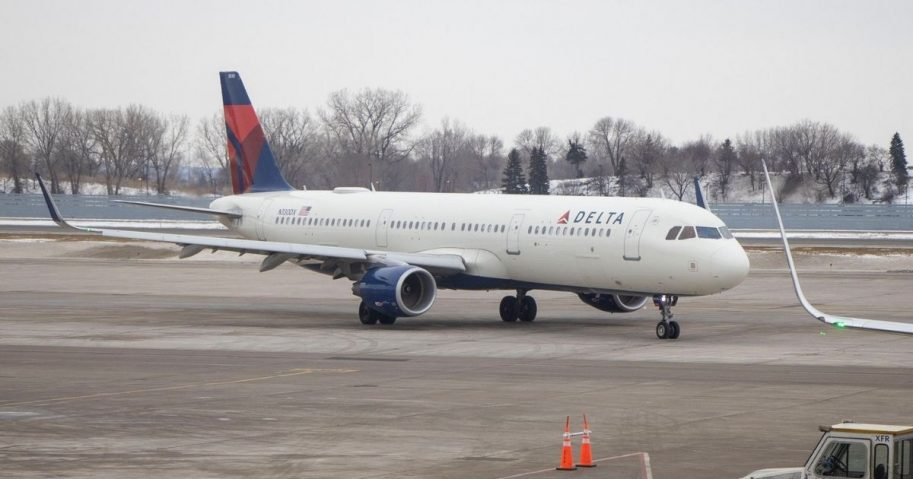 Delta airplane at an airport