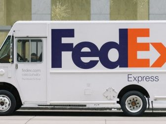 White FedEx truck