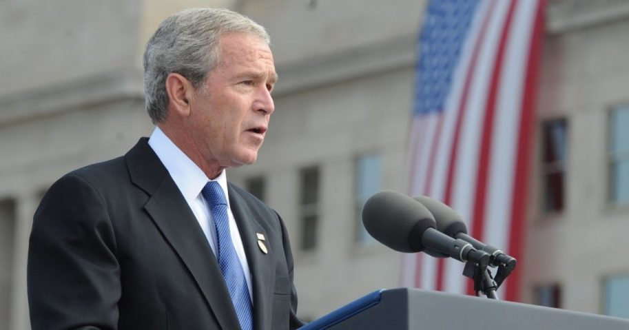 President George W. Bush speaks at the Pentagon Memorial dedication ceremony Sept. 11, 2008. The national memorial is the first to be dedicated to those killed at the Pentagon on Sept. 11, 2001. The site contains 184 inscribed memorial units honoring the 59 people aboard American Airlines Flight 77 and the 125 in the building who lost their lives that day. (DoD photo by Cherie Cullen/Released)