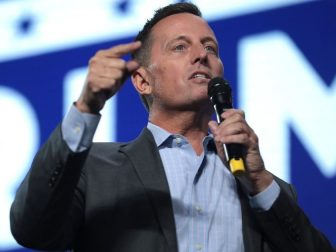 "Special Presidential Envoy for Serbia and Kosovo Peace Negotiations Richard Grenell speaking with supporters at an ""An Address to Young Americans"" event, featuring President Donald Trump, hosted by Students for Trump and Turning Point Action at Dream City Church in Phoenix, Arizona."